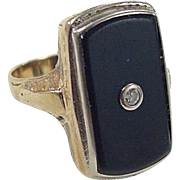 Art Deco 14k Gold Two-Tone Diamond and Onyx Ring