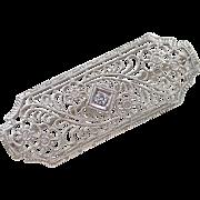 Art Deco 14k White Gold Diamond Floral Pin / Brooch