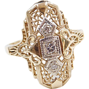Art Deco 14k Gold Two-Tone Diamond Ring