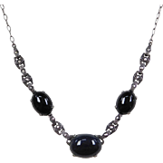 Art Deco Silver Onyx and Marcasite Necklace