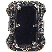Art Deco Sterling Silver Onyx and Marcasite Ring