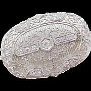 Art Deco 14k White Gold .55 ctw Diamond Pin / Brooch
