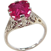 Art Deco 14k White Gold 2.75 Carat Created Ruby Ring