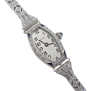 Art Deco 14k White Gold Sapphire and Diamond Watch