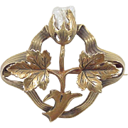 Art Nouveau 10k Gold Freshwater Pearl Flower and Leaf Pin / Brooch