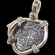Vintage Sterling Silver Gold Vermeil Atocha Shipwreck Coin Pendant