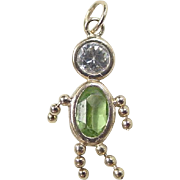 Vintage 14k Gold August Boy Birthstone Charm ~ Faux Peridot and Faux Diamond