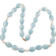 Aventurine and Cultured Pearl Beaded Necklace with 14k Gold Clasp ~ 24""