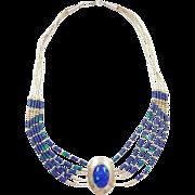 """Native American Vintage Sterling Silver Azurite Malachite Liquid Silver Necklace ~ 16"""""""