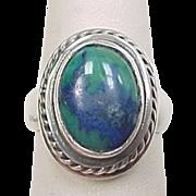 Vintage Sterling Silver Azurite Malachite Ring