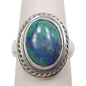 vintage sterling silver azurite malachite ring from