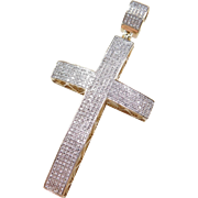 Vintage 10k Gold BIG Diamond Cross Pendant
