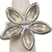 Vintage Sterling Silver BIG Flower Ring