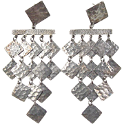Vintage Sterling Silver Big Hammered Earrings