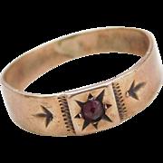 Victorian 10k Gold Bohemian Garnet Baby Ring
