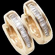 Vintage 14k Gold .26 ctw Diamond Baguette Huggie Hoop Earrings