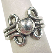 Vintage Sterling Silver Ball Ring