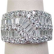 Vintage Sterling Silver Wide Faux Diamond Band Ring