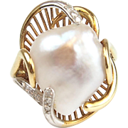 Vintage 14k Gold Two-Tone Baroque Pearl and Diamond Ring