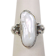 Vintage Sterling Silver Baroque Pearl Ring