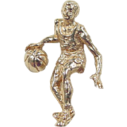 Vintage 14k Gold Basketball Player Charm / Pendant