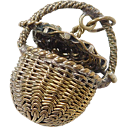 Vintage 14k Gold Hand Woven Basket with Lid Charm