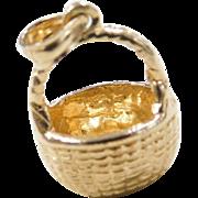 Vintage 14k Gold Basket Charm