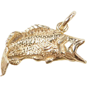 Vintage 14k Gold Bass Fish Charm