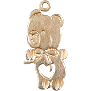 Vintage 14k Gold Teddy Bear Charm with Heart and Bow Accents