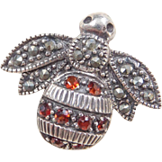Sterling Silver Garnet and Marcasite Bee Pin / Brooch