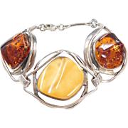 Big Sterling Silver Orange and Butterscotch Amber Bracelet ~ 8""