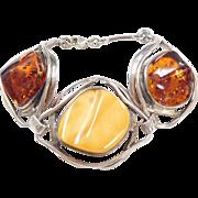 "Big Sterling Silver Orange and Butterscotch Amber Bracelet ~ 8"""