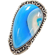 Sterling Silver BIG Blue Agate Ring