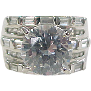 Vintage Sterling Silver Big Faux Diamond Ring