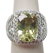 Vintage Sterling Silver Big Citrine Ring