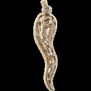 Vintage 14k Gold BIG Italian Horn Pendant / Charm