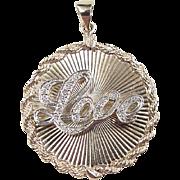 Vintage 14k Gold BIG Two-Tone Diamond LOVE Charm