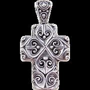 Vintage Sterling Silver Ornate Cross Pendant