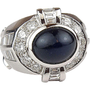 18k White Gold STUNNING 3 Carat NATURAL Sapphire and 4.5 ctw Diamond Ring
