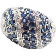 Sterling Silver Sapphire and Diamond Big Dome Ring