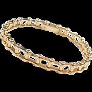 """Heavy 14k Gold Gents Bike Chain Bracelet ~ 8 1/2"""" ~ 37.4 Grams"""