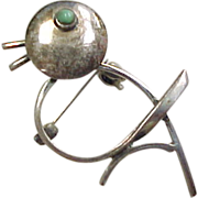 Taxco Vintage Sterling Silver Bird Brooch / Pin with Turquoise Eye