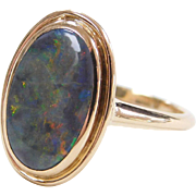 Beautiful 14k Gold 1.25 Carat Black Opal Ring