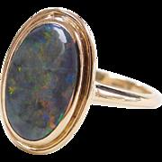 Beautiful 14k Gold 1.25 Carat Black Opal Ring