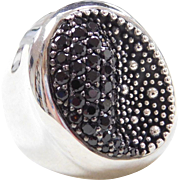 Sterling Silver Wide Black Quartz and Silver Bead Ring
