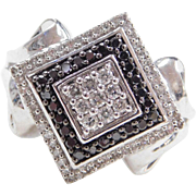 Sterling Silver .56 ctw Black and White Diamond Ring
