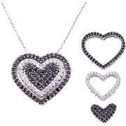 """.51 ctw Black and White Diamond 14k Gold Heart Necklace ~ 16"""""""