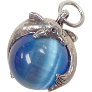 Sterling Silver Blue Cats Eye Dolphin Charm