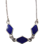 Vintage Sterling Silver Blue Enamel Necklace ~ 15 1/2""