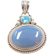 Sterling Silver Blue Glass and Chalcedony Pendant